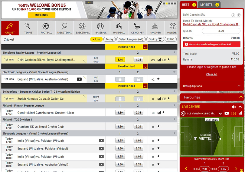 Dafabet cricket betting odds.